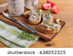 bean pate with garlic and thyme ... | Shutterstock . vector #638052325