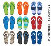 set of colorful flip flops.... | Shutterstock .eps vector #638054431