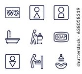 washroom icons set. set of 9... | Shutterstock .eps vector #638058319