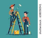 house renovation vector flat... | Shutterstock .eps vector #638058541