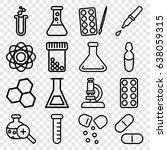 chemistry icons set. set of 16... | Shutterstock .eps vector #638059315