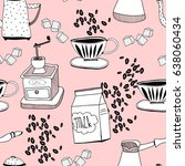 hand drawn coffee elements.... | Shutterstock .eps vector #638060434