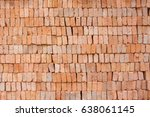 big stack of red clay block for ... | Shutterstock . vector #638061145