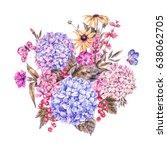 summer watercolor vintage... | Shutterstock . vector #638062705