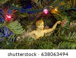 christmas tree with angel detail | Shutterstock . vector #638063494