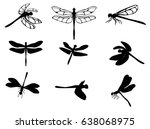 Stock vector set of silhouettes of dragonflies vector eps 638068975