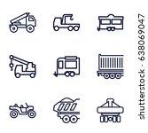 trailer icons set. set of 9... | Shutterstock .eps vector #638069047