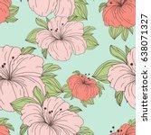 seamless floral hand drawn...   Shutterstock . vector #638071327
