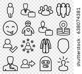 avatar icons set. set of 16... | Shutterstock .eps vector #638074381