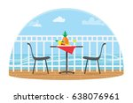 chairs and table on the terrace ... | Shutterstock .eps vector #638076961