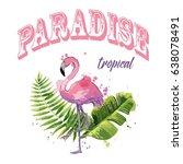 vector pink flamingo with... | Shutterstock .eps vector #638078491
