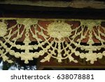 Small photo of Architectural details and ornamentation on side of building in Bhutan