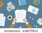 businessman signing a document. ... | Shutterstock . vector #638079814