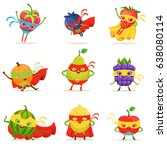 superhero fruits in masks and... | Shutterstock .eps vector #638080114