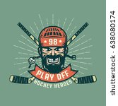 retro playoff logo with bearded ... | Shutterstock .eps vector #638080174