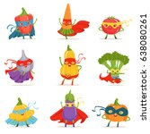 superhero vegetables in masks... | Shutterstock .eps vector #638080261