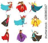 female superheroes in classic... | Shutterstock .eps vector #638080267