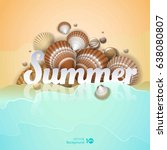 holiday background. shell on... | Shutterstock .eps vector #638080807