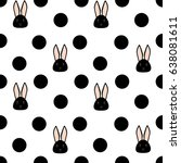 Stock vector seamless pattern cute black rabbit and polka dots on a white background vector illustration 638081611