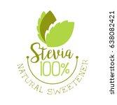 stevia natural sweetener logo.... | Shutterstock .eps vector #638082421