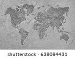 grunge map of the world.... | Shutterstock . vector #638084431