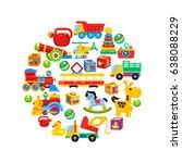 a set of children's toys ... | Shutterstock .eps vector #638088229