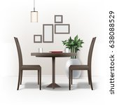 vector dining room interior... | Shutterstock .eps vector #638088529