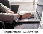 guy typing on laptop | Shutterstock . vector #638095705