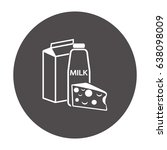 flat icon. milk and cheese.... | Shutterstock .eps vector #638098009