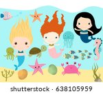 cute mermaids and sea animals... | Shutterstock .eps vector #638105959