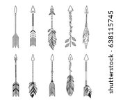 arrow set in native american... | Shutterstock .eps vector #638115745