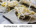 soybean sprouts. table with soy ... | Shutterstock . vector #638126101