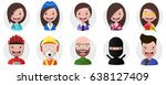 set of avatars  positive... | Shutterstock .eps vector #638127409