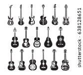 vector set of guitar icons... | Shutterstock .eps vector #638128651