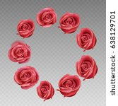 rose round frame on a... | Shutterstock .eps vector #638129701