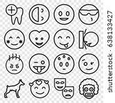 smile icons set. set of 16... | Shutterstock .eps vector #638133427