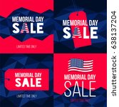 happy memorial day sale  set of ... | Shutterstock .eps vector #638137204