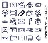 movie icons set. set of 25... | Shutterstock .eps vector #638138071