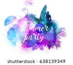abstract painted splash shape...   Shutterstock .eps vector #638139349