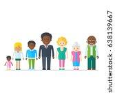 mixed black family.... | Shutterstock .eps vector #638139667