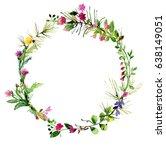 watercolor herbal card design.... | Shutterstock . vector #638149051