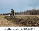 a man plows the land with a... | Shutterstock . vector #638149057