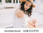 beautiful model in hat and... | Shutterstock . vector #638151955