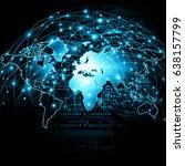 world map on a technological... | Shutterstock . vector #638157799