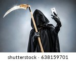grim reaper making selfie photo ... | Shutterstock . vector #638159701