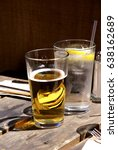 glasses of beer and water on a... | Shutterstock . vector #638162689