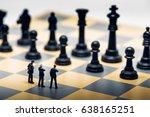 businessmen on a chessboard....   Shutterstock . vector #638165251