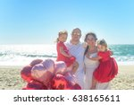 happy hugging family on the...   Shutterstock . vector #638165611
