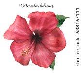 watercolor red hibiscus. hand... | Shutterstock . vector #638167111