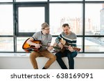 learning to play the guitar.... | Shutterstock . vector #638169091